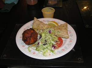 Samosas, Bhajis and Salad.  Plus Dip.  Yummy!