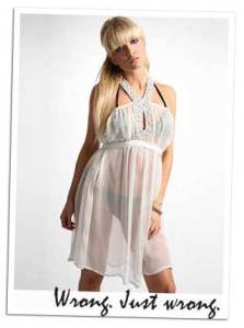 Sheer White Dress, Black Underwear.  Does Anyone Else See What is Wrong Here?